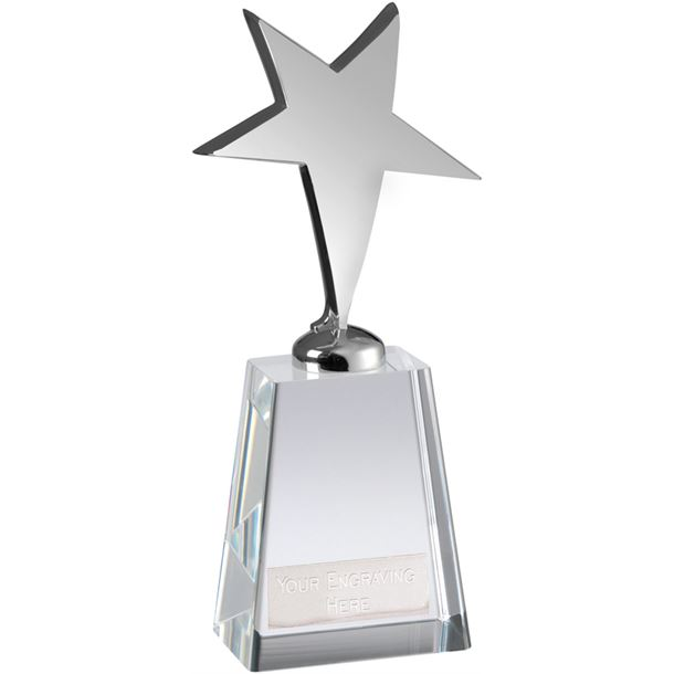"Optical Crystal Metal Silver Star Award 23cm (9"")"