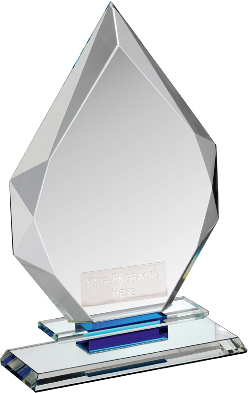 "Clear & Blue Crystal Obelisk Award on Glass Base 23cm (9"")"