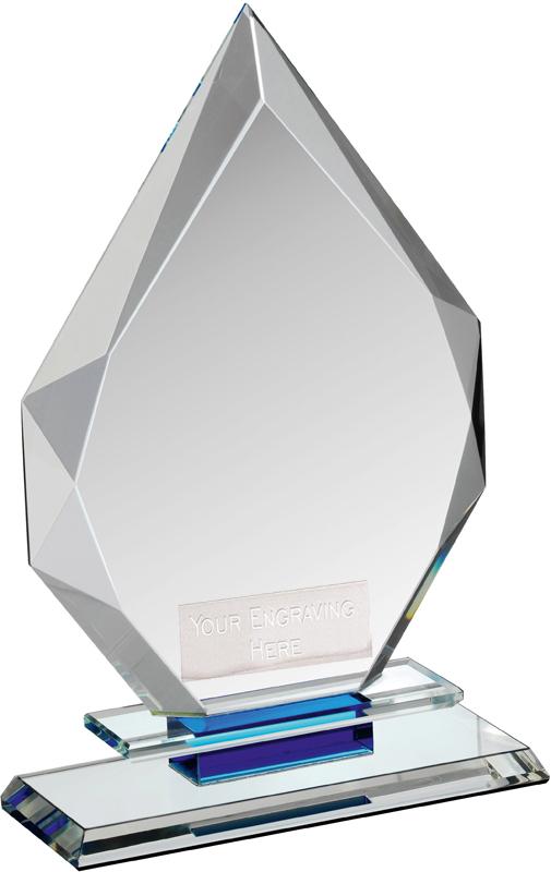 """Clear & Blue Crystal Obelisk Award on Glass Base 18cm (7"""")"""