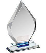 """Clear & Blue Crystal Obelisk Award 18cm (7"""")"""