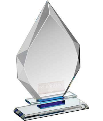 "Clear & Blue Crystal Obelisk Award 20.5cm (8"")"