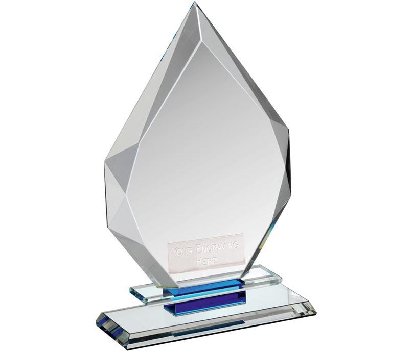 """Clear & Blue Crystal Obelisk Award 20.5cm (8"""")"""