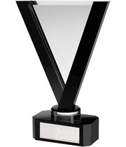 "Black & Clear Optical Crystal V-Shaped Award 25.5cm (10"")"