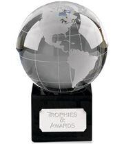 "Crystal Globe On Black Crystal Base 12.5cm (5"")"