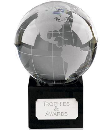 "Crystal Globe On Black Crystal Base 10cm (4"")"
