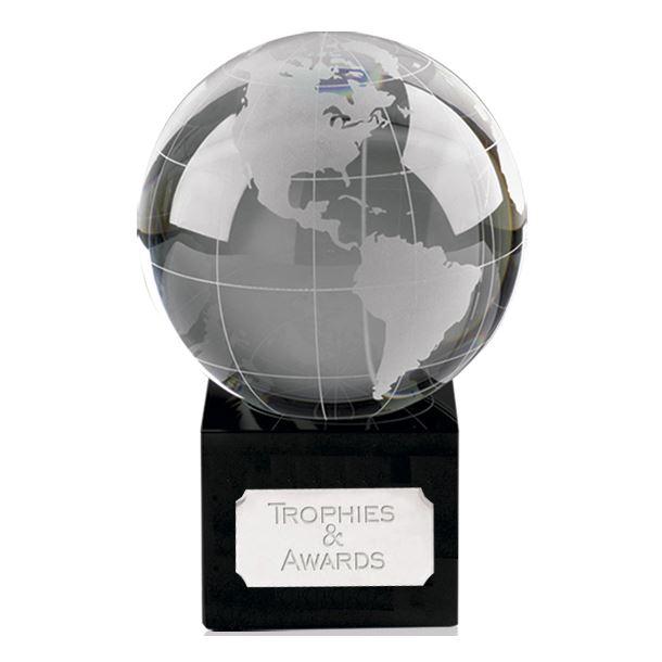 "Crystal Globe On Black Crystal Base 16.5cm (6.5"")"