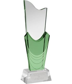 "Green & Clear Optical Crystal Curtain Award 25.5cm (10"")"