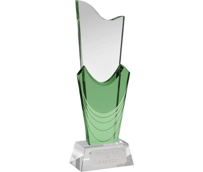 """Green & Clear Optical Crystal Curtain Award 25.5cm (10"""")"""