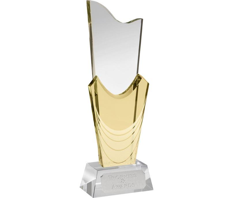 """Yellow & Clear Optical Crystal Curtain Award 27.5cm (10.75"""")"""