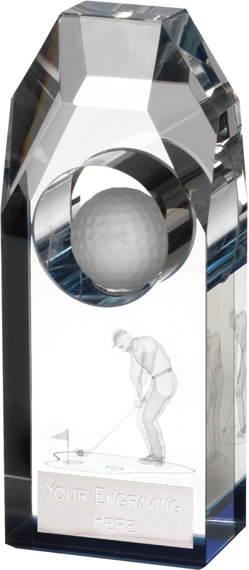 """Clear & Blue Crystal Golf Plinth Award 18.5cm (7.25"""")"""