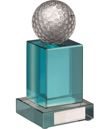 "Heavyweight Glass Golf Award with Blue Crystal Pillar 14cm (5.5"")"