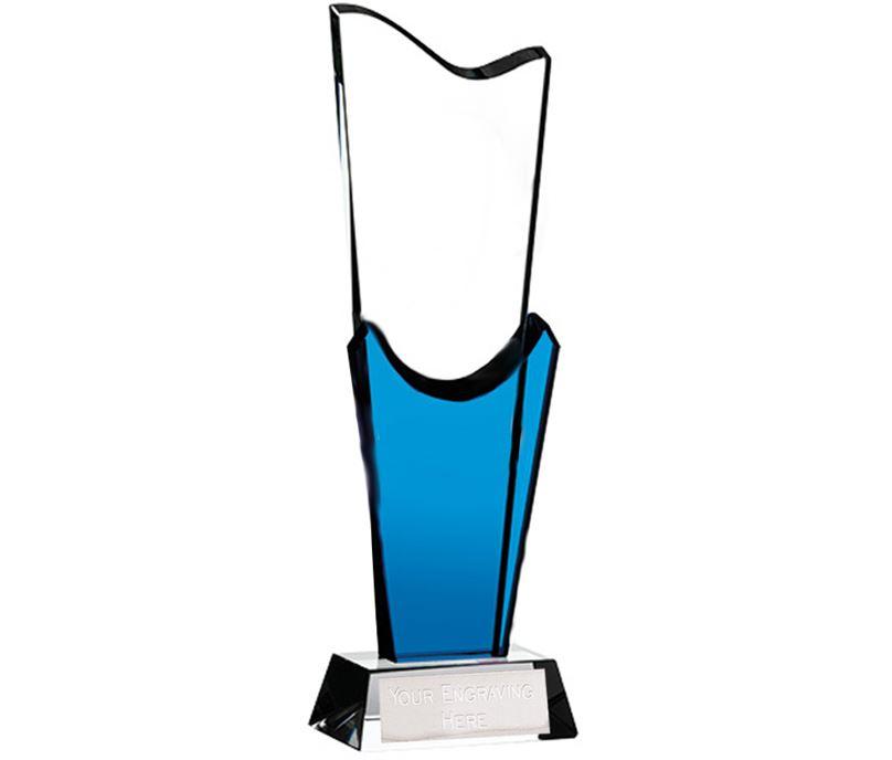 """Blue & Clear Optical Crystal Curtain Glass Plaque Award 26.5cm (10.5"""")"""