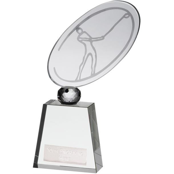 "Optical Crystal Golf Award on Large Glass Base 23.5cm (9.25"")"