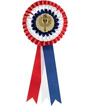 """Three Tier Red, White & Blue Rosette with 2"""" Centre 30.5cm (12"""")"""