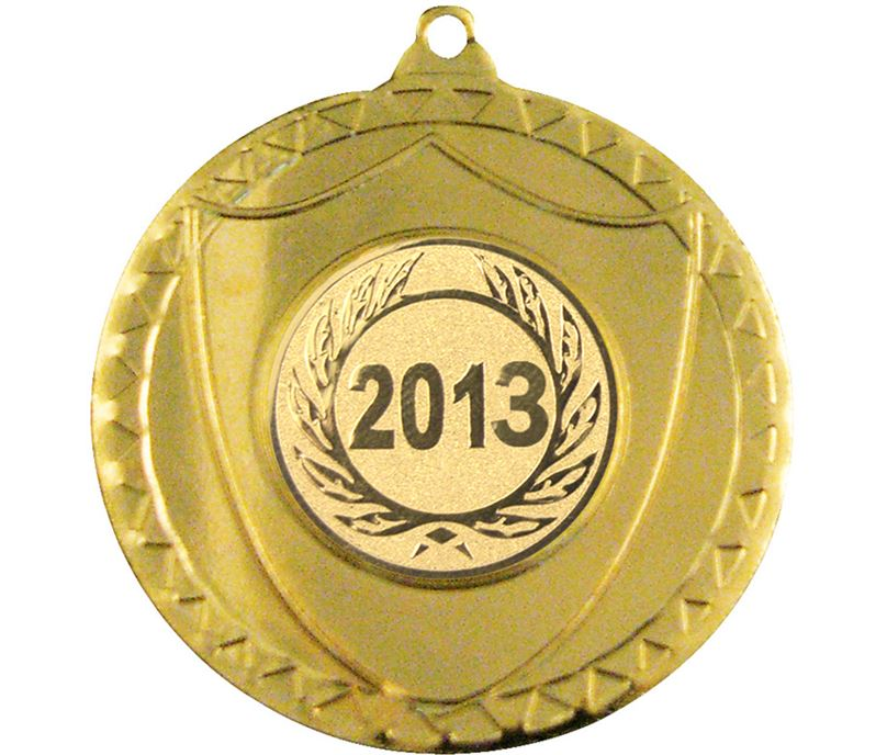"""Gold Shield Medal with Pattern 50mm (2"""")"""