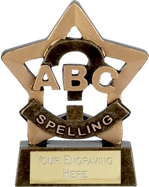 "Mini Stars Spelling Award Trophy 8.5cm (3.25"")"