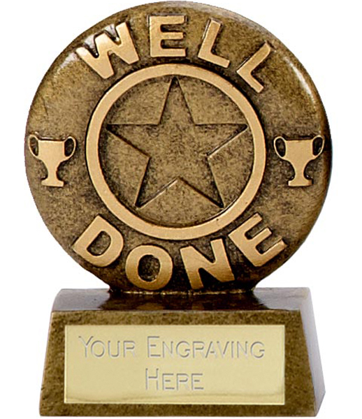 "Resin Mini Star Well Done Trophy 6.5cm (2.5"")"