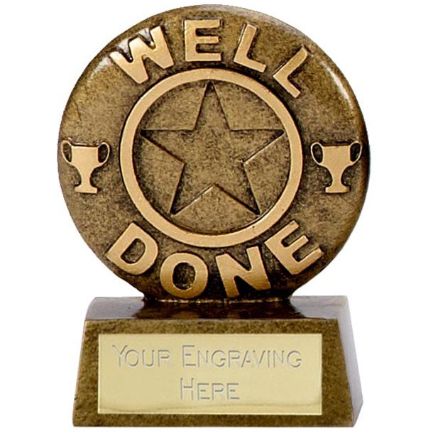 "Resin Mini Star Well Done Trophy 6.5cm (2.5"")"
