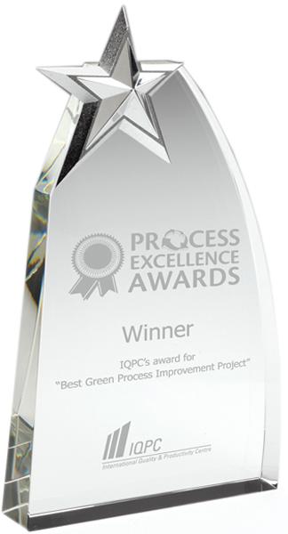 """Heavyweight Glass Arch Silver Star Award 19cm (7.5"""")"""