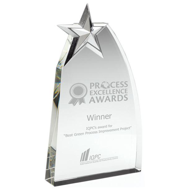 """Heavyweight Glass Arch Silver Star Award 21.5cm (8.5"""")"""