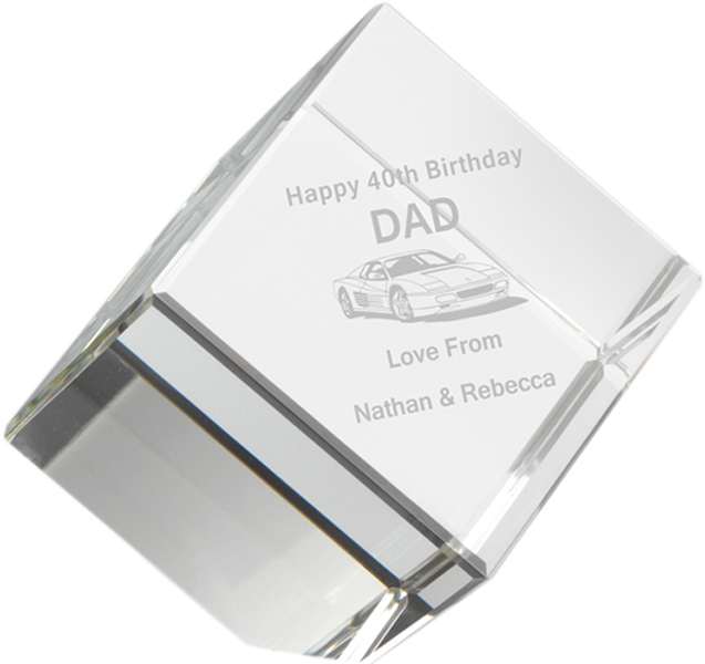 "Free Standing Clear Glass Cube Paperweight 8.5cm (3.25"")"