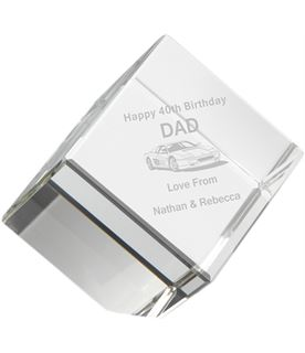 """Free Standing Clear Glass Cube Paperweight 10cm (4"""")"""