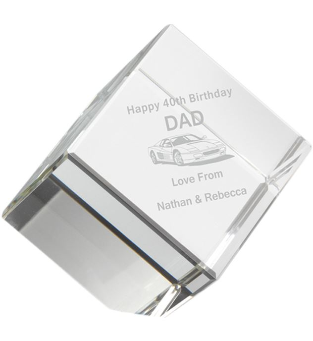 "Free Standing Clear Glass Cube Paperweight 10cm (4"")"