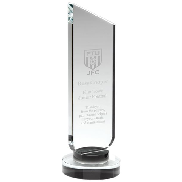"Clear Glass Plaque with Black Collar Award 22cm (8.75"")"