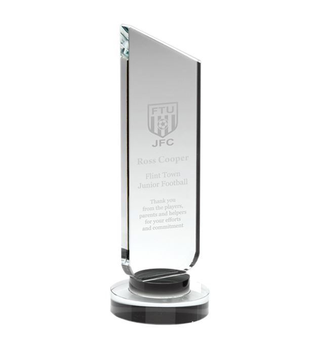"Clear Glass Plaque with Black Collar Award 19cm (7.5"")"