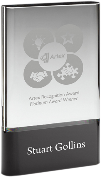 "Heavyweight Clear & Black Glass Plaque Award 20.5cm (8"")"