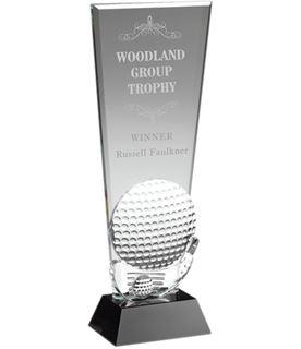 "Glass Golf Ball & Club Head Plaque Award 28cm (11"")"