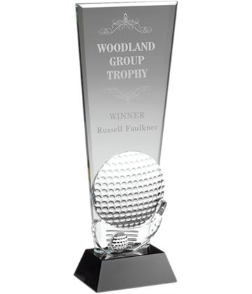"Glass Golf Ball & Club Head Plaque Award 28cm (11"")"