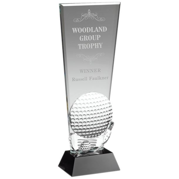 "Glass Golf Ball & Club Head Plaque Award 25.5cm (10"")"