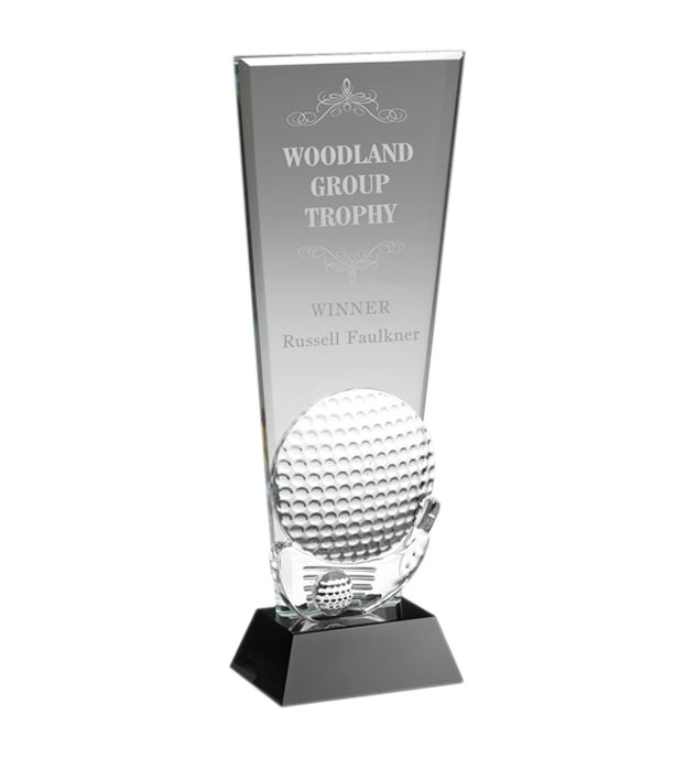 "Glass Golf Ball & Club Head Plaque Award 25.5cm (10"")"