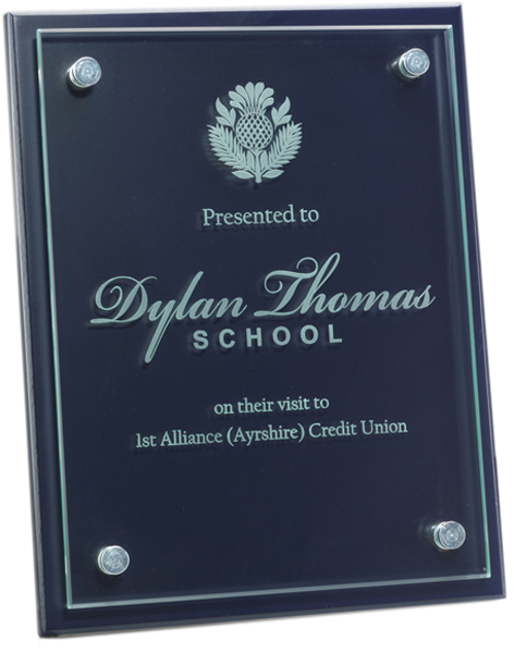"Glass Front Blue Wood Presentation Plaque 23cm x 30.5cm (9"" x 12"")"