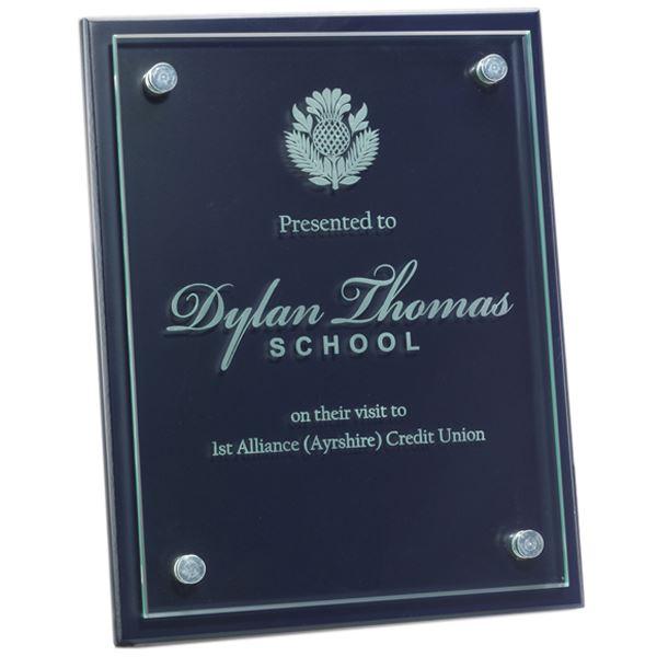 """Glass Front Blue Wood Presentation Plaque 20.5cm x 25.5cm (8"""" x 10"""")"""