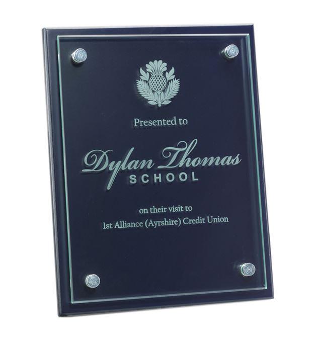 """Glass Front Blue Wood Presentation Plaque 18cm x 23cm (7"""" x 9"""")"""