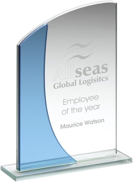 "Blue & Clear Glass Curved Top Plaque Award 15cm (6"")"