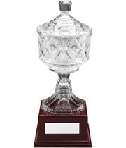 "Clear Cut Glass Trophy Cup on Large Wooden Base 28.5cm (11.25"")"