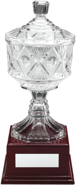 "Clear Cut Glass Trophy Cup on Large Wooden Base 31cm (12.25"")"