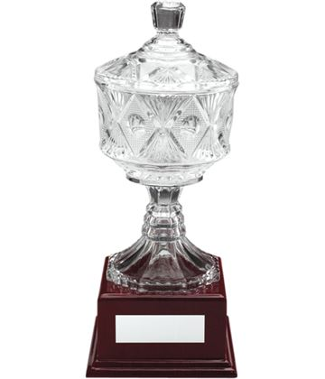 "Clear Cut Glass Trophy Cup on Large Wooden Base 33.5cm (13.25"")"