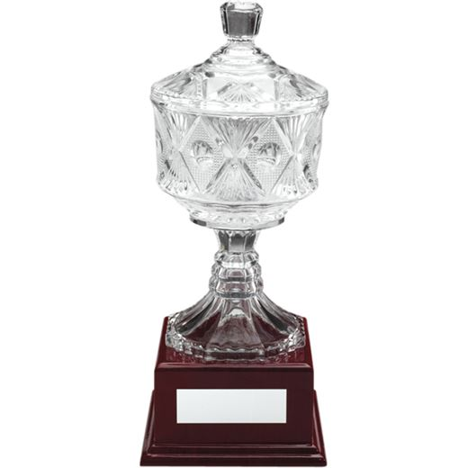 """Clear Cut Glass Trophy Cup on Large Wooden Base 31cm (12.25"""")"""