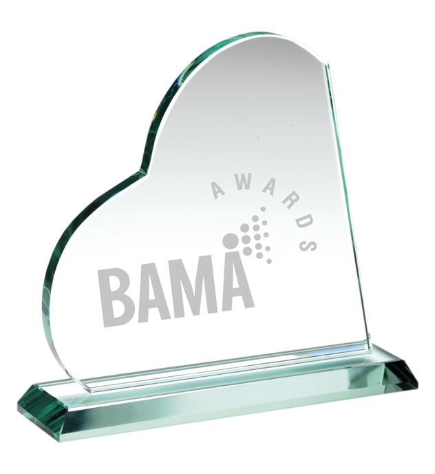 "Clear Glass Heart Plaque Award 17cm (6.75"")"