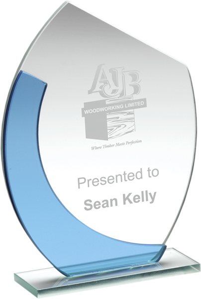 "Blue & Clear Glass Oval Plaque Award 18cm (7"")"