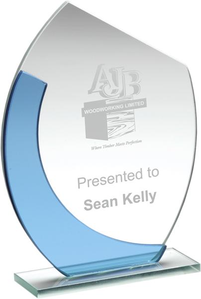 "Blue & Clear Glass Oval Plaque Award 14cm (5.5"")"