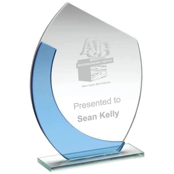 "Blue & Clear Glass Oval Plaque Award 15cm (6"")"