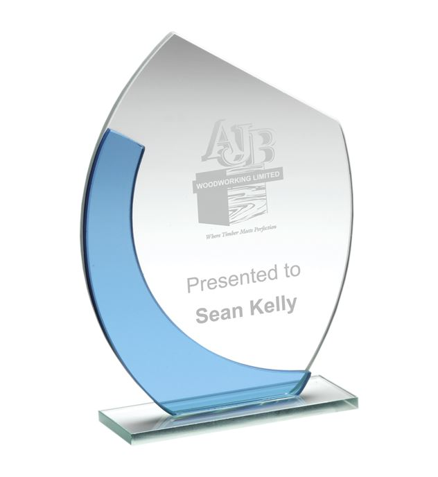 "Blue & Clear Glass Oval Plaque Award 14cm (5.5"")"