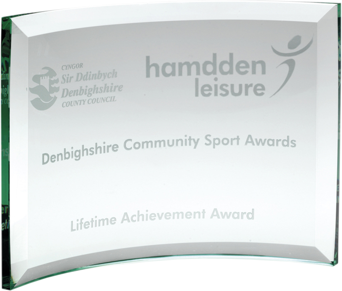 Free Standing Curved Glass Rectangle Plaque Award 10cm x 16cm