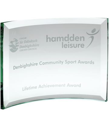 Free Standing Curved Glass Rectangle Plaque Award 12.5cm x 18.5cm