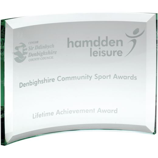 Free Standing Curved Glass Rectangle Plaque Award 15cm x 21cm